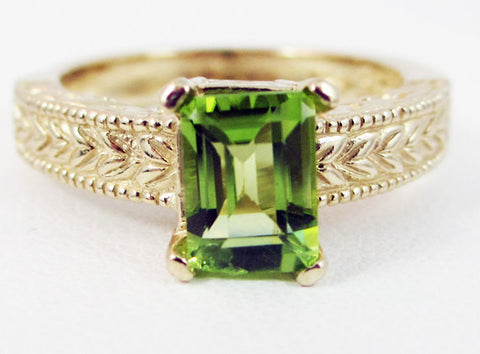 Peridot Detailed 14k Yellow Gold Emerald Cut Ring, Solid 14 Karat Gold Ring, August Birthstone Ring, Emerald Cut Peridot Ring