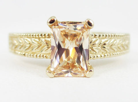 Champagne CZ Detailed 14k Yellow Gold Emerald Cut Ring, Cubic Zirconia Ring, Emerald Cut CZ Ring, Solid 14k Yellow Gold Ring, 14k Ring