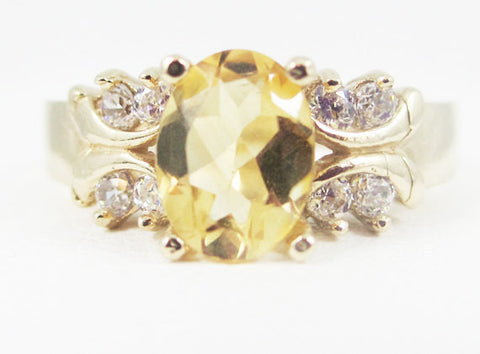 Golden Citrine 14k Yellow Gold CZ Accent Oval Ring, Solid 14k Yellow Gold Ring, 14 Karat Gold Ring, November Birthstone Ring