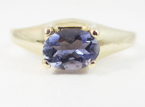 Iolite Oval 14k Yellow Gold Dome Ring, Solid 14k Yellow Gold Ring, 14 Karat Gold Ring, Water Sapphire Ring, 14k Iolite Ring, Yellow Gold
