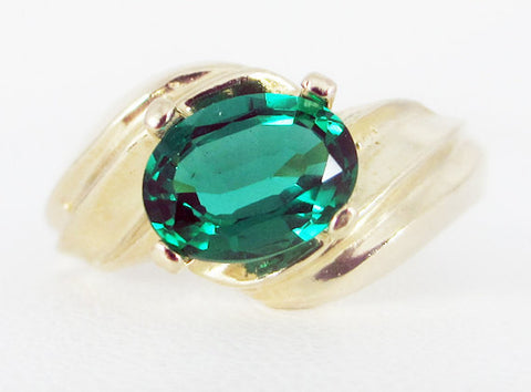 Emerald 14k Yellow Gold Oval Ring, Solid 14k Yellow Gold Ring, 14 Karat Gold Ring, May Birthstone Ring, 14k Gold Oval Emerald Ring