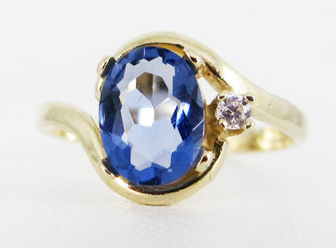 Tanzanite 14k Yellow Gold CZ Accent Oval Ring, Solid 14 Karat Gold Ring, December Birthstone Ring, 14k Tanzanite Ring, Oval Tanzanite Ring