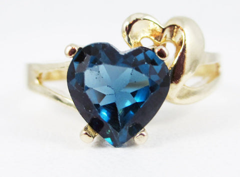 London Blue Topaz and Gold Heart Ring 14k Yellow Gold, Solid 14 Karat Gold Ring, London Blue Topaz Heart Ring, December Birthstone Ring