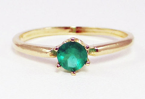 Colombian Emerald Solitaire Ring 14k Yellow Gold, Solid 14 Karat Gold Ring, May Birthstone Ring, Natural Emerald Ring, Colombian Emerald