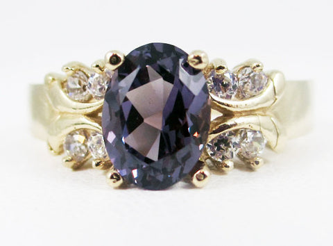 Alexandrite 14k Yellow Gold CZ Accent Oval Ring