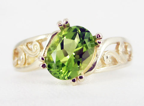 Peridot 14k Yellow Gold Oval Filigree Ring, Solid 14 Karat Gold Ring, August Birthstone Ring, Peridot Oval Filigree Ring, 14k Gold Oval Ring