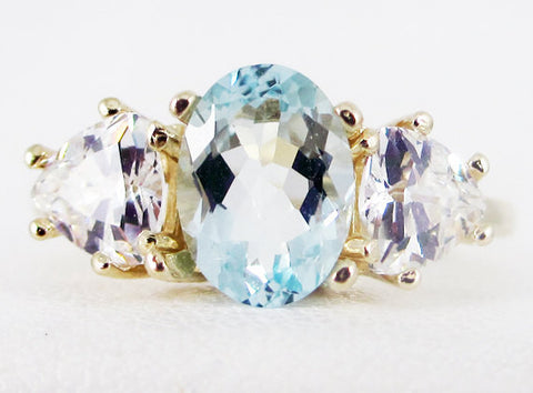aquamarine oval and trillion 14k yellow gold ring solid 14 karat gold ring march