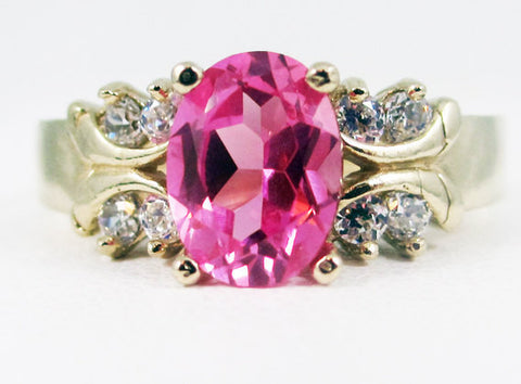 Pink Sapphire 14k Yellow Gold CZ Accent Oval Ring, Engagement Ring