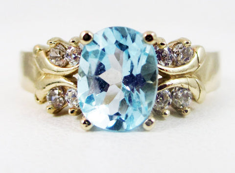 Sky Blue Topaz 14k Yellow Gold CZ Accent Oval Ring, Engagement Ring, Blue Topaz Oval Ring, December Birthstone Ring, Multi Stone Ring