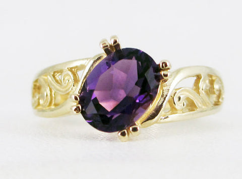 Amethyst 14k Yellow Gold Oval Filigree Ring, Solid 14 Karat Gold Ring, February Birthstone Ring, Amethyst Gold Ring, 14k Amethyst Ring