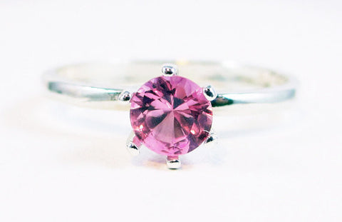 Light Pink Sapphire Ring Sterling Silver, September Birthstone Ring, Pink Sapphire Solitaire Ring, 925 Sterling Silver Ring