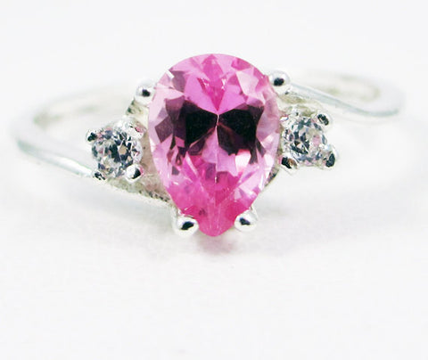 Pink Sapphire Pear CZ Accented Ring Sterling Silver, September Birthstone Ring, Pear Sapphire Ring, 925 Sterling Silver Ring