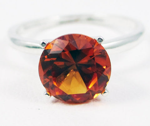 Sterling Silver Large Orange Sapphire Solitaire Ring, September Birthstone Ring, Sterling Solitaire Ring, Orange Sapphire Ring, 925 Ring