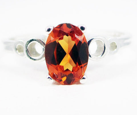 Orange Sapphire Oval Bubble Ring Sterling Silver, September Birthstone Ring, Oval Orange Sapphire Ring, Sterling Silver Bubble Ring