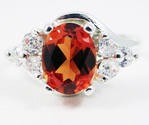Orange Sapphire Oval and White CZ Ring Sterling Silver, September Birthstone Ring, Orange Sapphire Ring, 925 Orange Sapphire Ring, 925 Ring