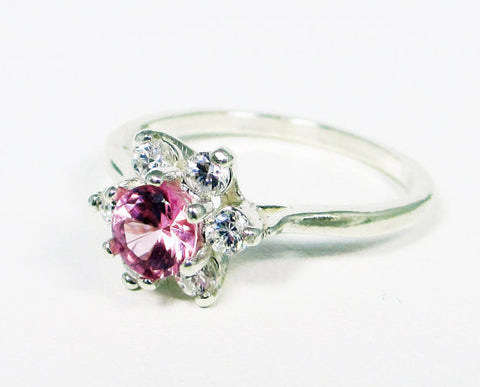 Pink Sapphire Halo Ring Sterling Silver, September Birthstone Ring, Pink Heart Ring, 925 Pink Sapphire Ring, 925 Sterling Silver Ring