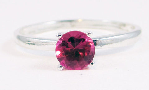 Pink Sapphire Solitaire Ring Sterling Silver, September Birthstone Ring, Sterling Silver Solitaire Ring, 925 Sterling Silver Ring, 925 Ring