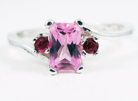 Pink Sapphire and Ruby Accent Ring Sterling Silver, September Birthstone Ring, Emerald Cut Pink Sapphire Ring, July Birthstone Ring
