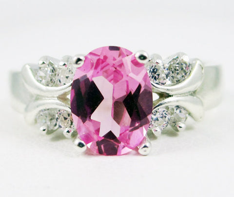 Oval Pink Sapphire and White CZ Ring Sterling Silver, September Birthstone Ring Pink Sapphire Oval Ring, 925 Sterling Ring, Multi Stone Ring
