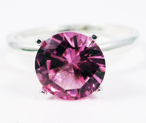 Large Pink Sapphire Solitaire Ring Sterling Silver, September Birthstone Ring, Pink Sapphire Ring, Large Solitaire Ring, 925 Sterling Ring