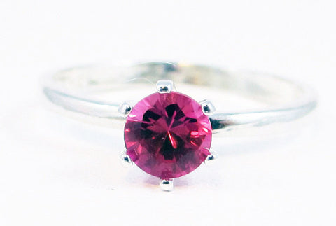 Sterling Silver Pink Sapphire Solitaire Ring, September Birthstone Ring, Solitaire Ring, Pink Sapphire Ring, Sterling Solitaire, 925 Ring