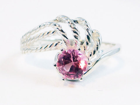 Pink Sapphire Swirl Ring Sterling Silver, September Birthstone Ring, PInk Sapphire Twist Ring, Sterling Silver Sapphire Ring, 925 Ring