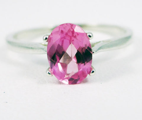 Pink Sapphire Oval Solitaire Ring Sterling Silver, September Birthstone Ring, Pink Sapphire Solitaire Ring, 925 Sterling Silver Ring