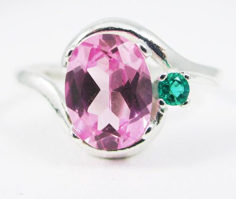 Pink Sapphire Oval and Emerald Accent Ring Sterling Silver, September Birthstone Ring, May Birthstone Ring, Emerald Accent Ring