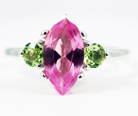 Pink Sapphire Marquis and Peridot Accent Ring Sterling Silver, 925 September Birthstone Ring, August Birthstone Ring, Peridot Accent Ring