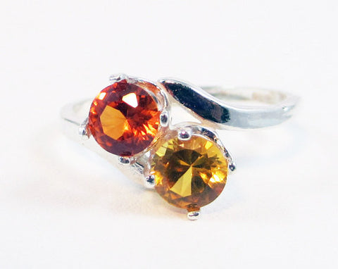 Yellow and Orange Sapphire Ring Sterling Silver, September Birthstone Ring, Two Stone Ring, Yellow Orange Sapphire Ring