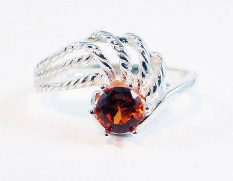 Orange Sapphire Swirl Ring Sterling Silver, September Birthstone Ring, Orange Sapphire Twist Ring, 925 Sterling Silver Ring
