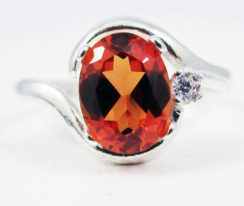 Orange Sapphire Oval and White CZ Accent Ring Sterling Silver, September Birthstone Ring, Orange Sapphire Oval Ring, 925 Sterling Ring