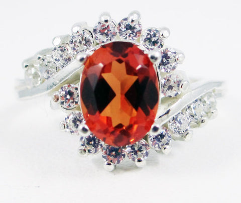 Orange Sapphire and CZ Ring Sterling Silver, September Birthstone Ring, Oval Orange Sapphire Ring, Orange Sapphire Halo Ring, 925 Ring