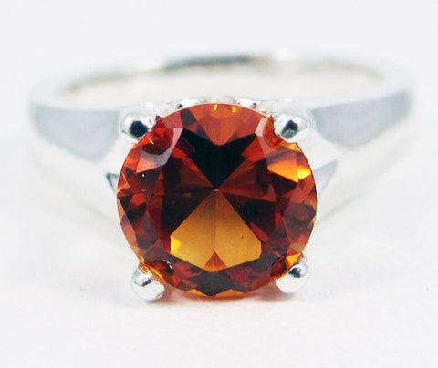 Large Orange Sapphire Solitaire Ring Sterling Silver, September Birthstone Ring, Orange Sapphire Ring, Solitaire Ring, 925 Sterling Ring