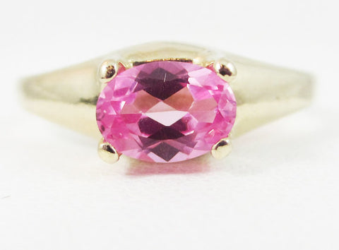 Pink Sapphire Oval 14k Yellow Gold Dome Ring, Solid 14 Karat Gold Ring, September Birthstone Ring, 14k Gold Pink Sapphire Oval Ring