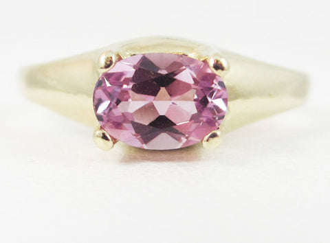 Alexandrite Oval 14k Yellow Gold Dome Ring