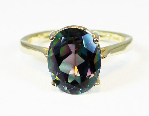 14k Yellow Gold Mystic Topaz Ring, Solid 14 Karat Gold Ring, Rainbow Topaz Ring, 14k Gold Mystic Topaz Ring, 14k Gold Oval Solitaire Ring