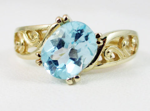 Sky Blue Topaz 14k Yellow Gold Oval Filigree Ring, Solid 14 Karat Gold Ring, December Birthstone Ring, 14k Gold Sky Blue Topaz Ring