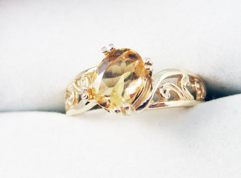 golden citrine 14k yellow gold oval filigree ring solid 14 karat gold ring november