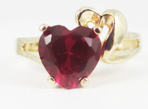 Ruby and Gold Heart Ring 14k Yellow Gold, Solid 14 Karat Gold Ring, 14k Gold Ruby Heart Ring, July Birthstone Ring, Gold Heart Ring
