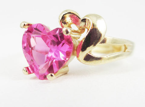 Pink Sapphire and Gold Heart Ring 14k Yellow Gold Solid 14 Karat