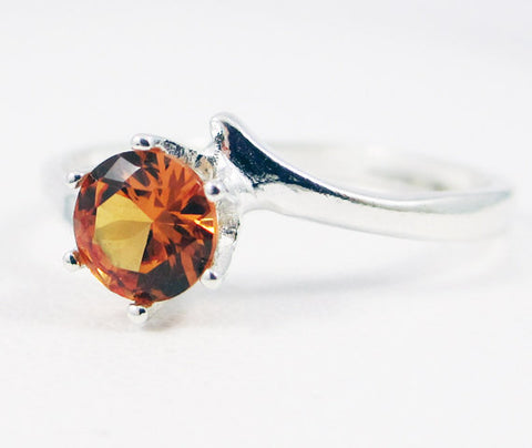Orange Sapphire Bypass Solitaire Ring Sterling Silver, September Birthstone Ring, Orange Sapphire Solitaire Ring, 925 Sterling Ring