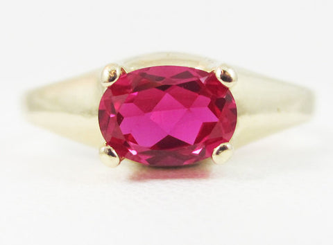 Ruby Oval 14k Yellow Gold Dome Ring, Solid 14 Karat Gold Ring, July Birthstone Ring, 14k Gold Ruby Oval Ring, Red Ruby Oval Ring, 14k Ring