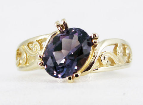 Alexandrite 14k Yellow Gold Oval Filigree Ring