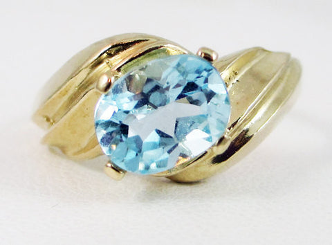 Sky Blue Topaz 14k Yellow Gold Oval Ring, Blue Topaz Oval Ring, 14k Gold Oval Ring, 14 Karat Yellow Gold Oval Ring, December Birthstone Ring