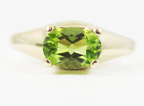 Peridot Oval 14k Yellow Gold Dome Ring, Solid 14 Karat Gold Ring, August Birthstone Ring, 14k Gold Peridot Oval Ring, 14k Peridot Ring