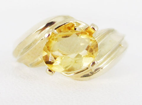Citrine 14k Yellow Gold Oval Ring, Solid 14 Karat Gold Ring, November Birthstone Ring, Citrine Oval Ring, 14k Yellow Gold Oval Citrine Ring