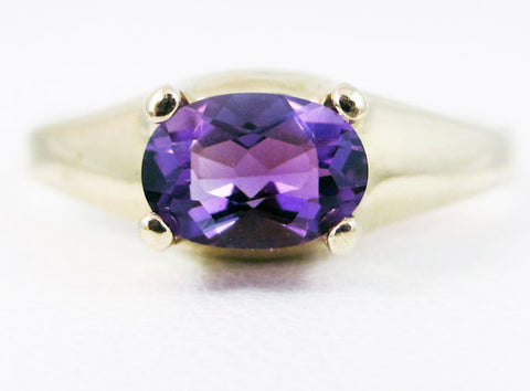 Amethyst Oval 14k Yellow Gold Dome Ring