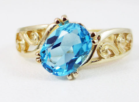 Swiss Blue Topaz 14k Yellow Gold Oval Filigree Ring, Solid 14 Karat Gold Ring, December Birthstone Ring, 14k Gold Oval Ring, Filigree Ring
