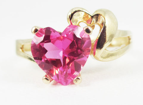 Pink Sapphire and Gold Heart Ring 14k Yellow Gold, Solid 14 Karat Gold Ring, September Birthstone Ring, PInk Sapphire Heart Ring